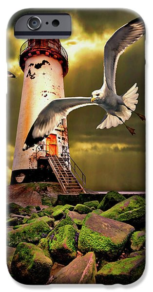 Flying Seagull iPhone Cases - Lighthouse With Seagulls iPhone Case by Meirion Matthias