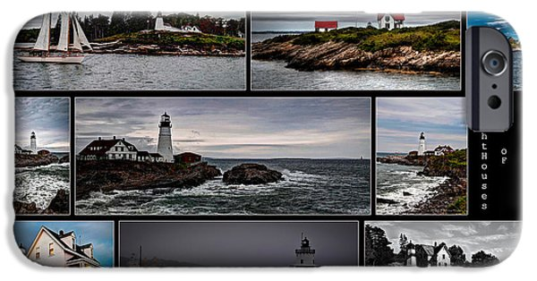 Ledge iPhone Cases - Lighthouses of Maine iPhone Case by Deborah Klubertanz