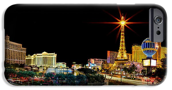 Paris iPhone Cases - Lighting Up Vegas iPhone Case by Az Jackson
