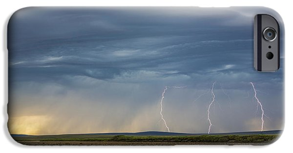 Turbulent Skies iPhone Cases - Lightning Bolts Descend From Dark iPhone Case by David Shaw