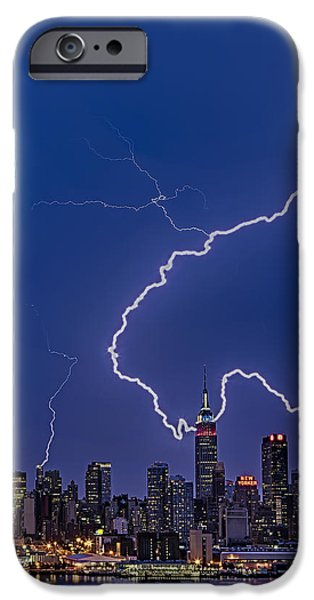 Hudson River iPhone Cases - Lightning Bolts Over New York City iPhone Case by Susan Candelario