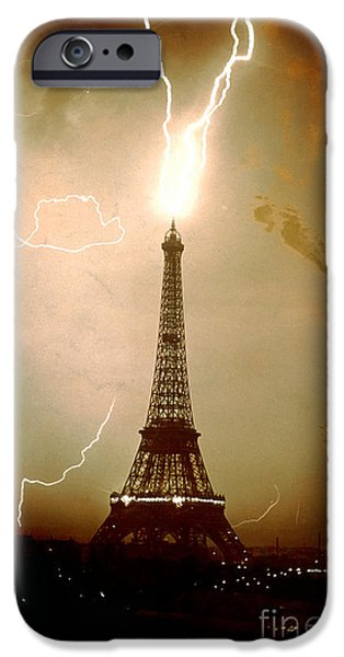 Electrical iPhone Cases - Lightning bolts striking the Eiffel Tower iPhone Case by JL Charmet