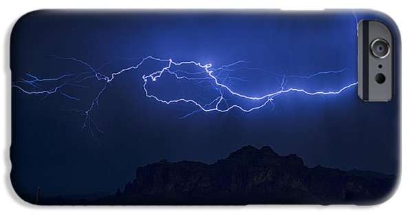 Raining iPhone Cases - Lightning on the Superstitions  iPhone Case by Saija  Lehtonen