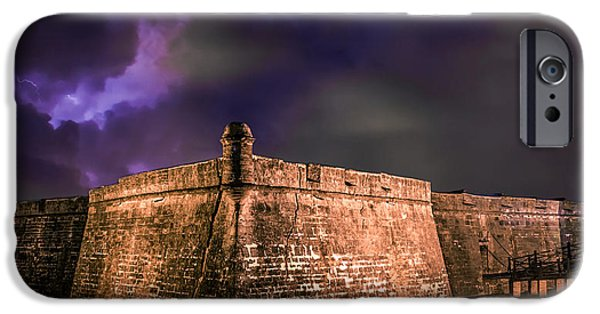 Electrical iPhone Cases - Lightning Over Castillo de San Marcos National Monument iPhone Case by Rob Sellers