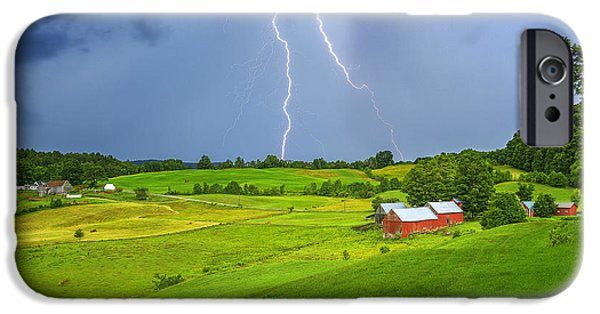 Field. Cloud iPhone Cases - Lightning Over Jenne Farm 2 iPhone Case by John Vose