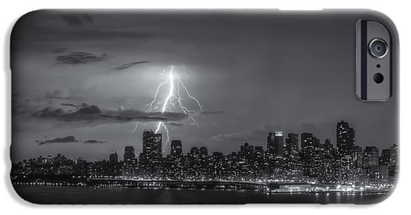 Hudson River iPhone Cases - Lightning Over New York City VI iPhone Case by Clarence Holmes