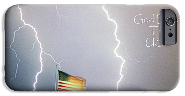 Photography Lightning iPhone Cases - Lightning Strikes God Bless the USA iPhone Case by James BO  Insogna