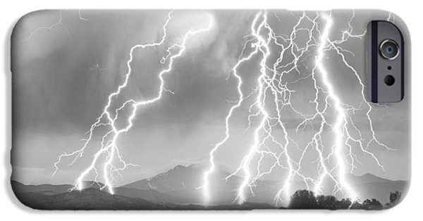 James Bo Insogna iPhone Cases - Lightning Striking Longs Peak Foothills 4CBW iPhone Case by James BO  Insogna