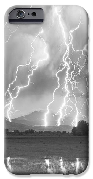 Lightning Striking Longs Peak Foothills 4CBW iPhone Case by James BO  Insogna
