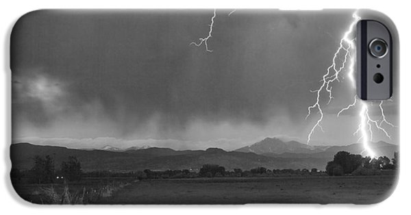 Stock Images iPhone Cases - Lightning Striking Longs Peak Foothills 5BW iPhone Case by James BO  Insogna
