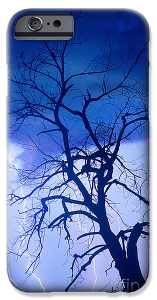 James Bo Insogna iPhone Cases - Lightning Tree Silhouette Portrait iPhone Case by James BO  Insogna