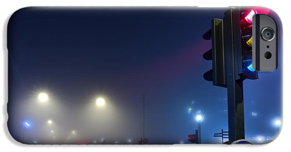 Night Lamp iPhone Cases - Lights in the Mist iPhone Case by EXparte SE