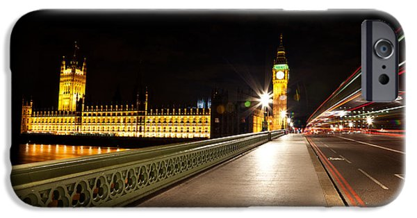 Night Lamp iPhone Cases - Lights of London iPhone Case by Nicolas Raymond