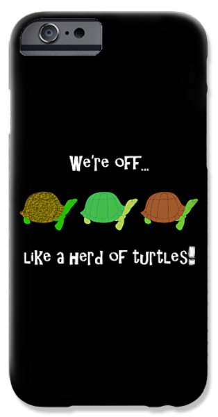 Reptiles Digital iPhone Cases - Like A Herd Of Turtles iPhone Case by Methune Hively