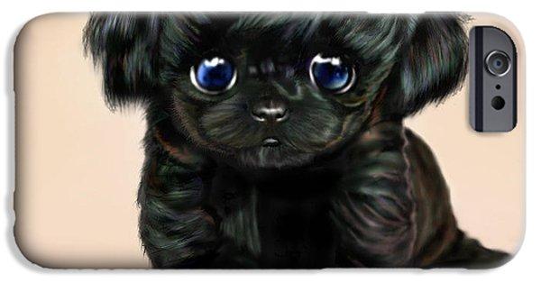 Puppy Digital Art iPhone Cases - Lil Miss Curly Q iPhone Case by Ellen Dawson