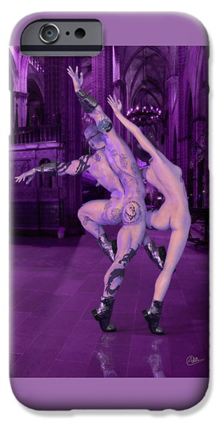 Figure iPhone Cases - Lila Dance of Adam and Eve iPhone Case by Joaquin Abella