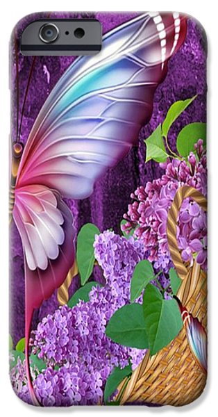 Basket iPhone Cases - Lilacs And Butterflies iPhone Case by G Berry