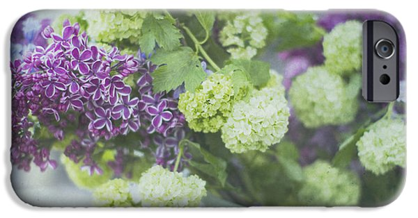 Lilacs iPhone Cases - Lilacs and Snowballs iPhone Case by Rebecca Cozart