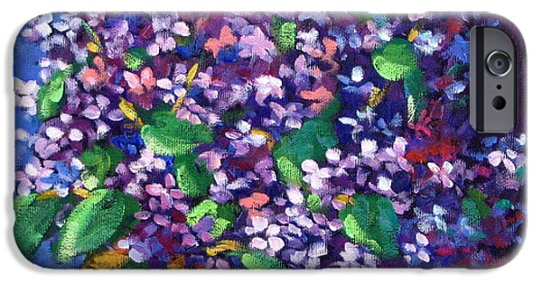 Canadiens Paintings iPhone Cases - Lilacs iPhone Case by Richard T Pranke