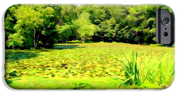 Abstract Digital Photographs iPhone Cases - Lily Pond #7 iPhone Case by Ed Weidman