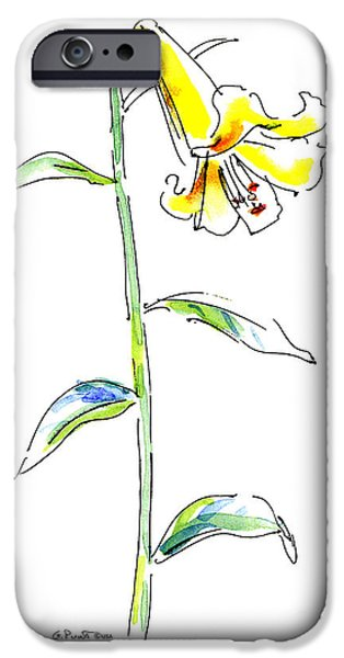 Lilies iPhone Cases - Lily Watercolor Painting 2 iPhone Case by Gordon Punt