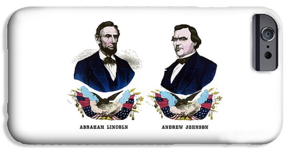 Great Emancipator iPhone Cases - Lincoln and Johnson Campaign Poster iPhone Case by War Is Hell Store