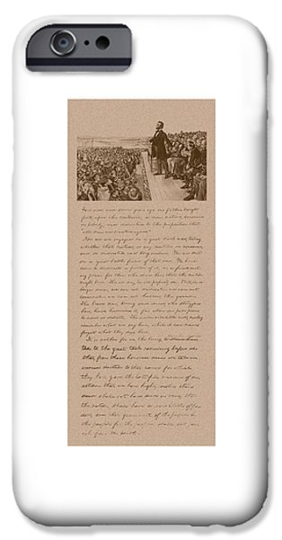 America Mixed Media iPhone Cases - Lincoln and The Gettysburg Address iPhone Case by War Is Hell Store