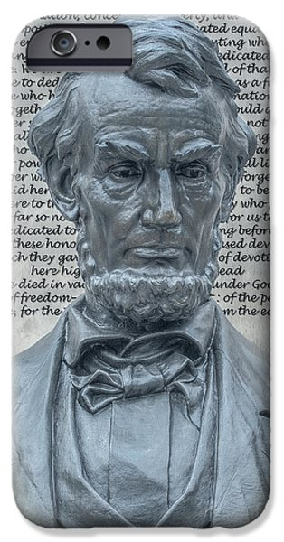 Lincoln Speech Digital iPhone Cases - Lincoln Bust and Gettysburg Address iPhone Case by Randy Steele