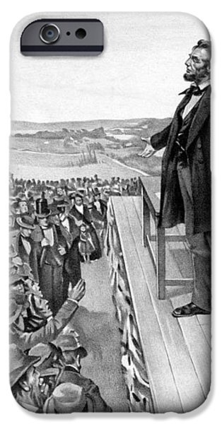 Lincoln Delivering The Gettysburg Address iPhone Case by War Is Hell Store