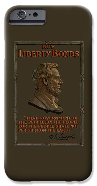 Abe iPhone Cases - Lincoln Gettysburg Address Quote iPhone Case by War Is Hell Store