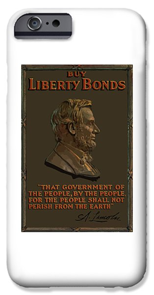 Abraham Lincoln iPhone Cases - Lincoln Gettysburg Address Quote iPhone Case by War Is Hell Store