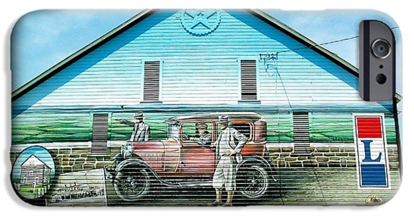 Old Cars iPhone Cases - Lincoln Highway Barn Mural iPhone Case by Tana Reiff