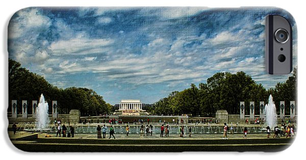 President iPhone Cases - Lincoln Memorial With Texture iPhone Case by Judy Vincent
