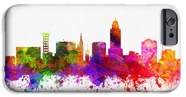 Lincoln iPhone Cases - Lincoln Nebraska skyline color02 iPhone Case by Aged Pixel
