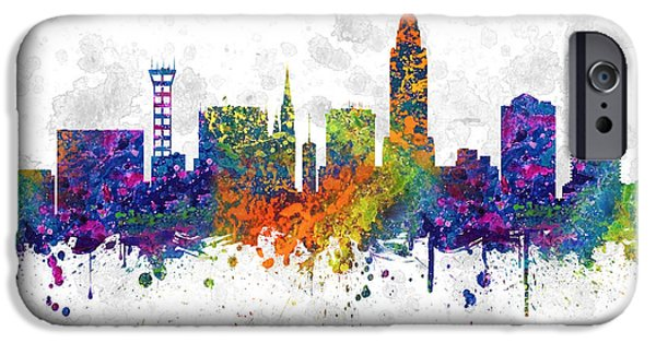 Lincoln iPhone Cases - Lincoln Nebraska Skyline color 03SQ iPhone Case by Aged Pixel