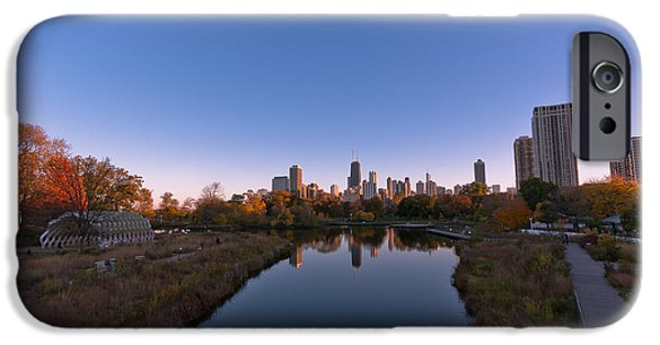 Sears Tower iPhone Cases - Lincoln Park Zoo in the Fall iPhone Case by Steve Kuzminski