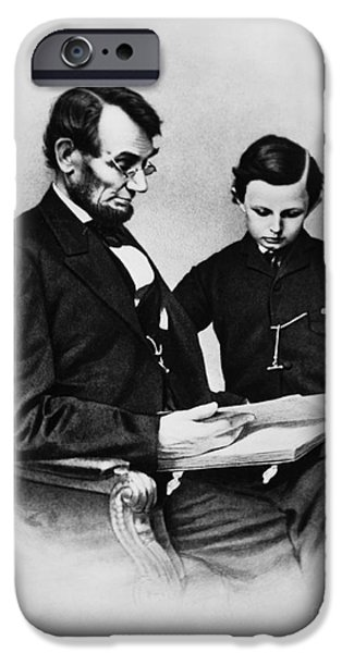 Slavery Abolition iPhone Cases - Lincoln Reading To His Son iPhone Case by Photo Researchers