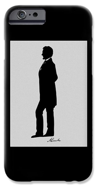 History Mixed Media iPhone Cases - Lincoln Silhouette and Signature iPhone Case by War Is Hell Store