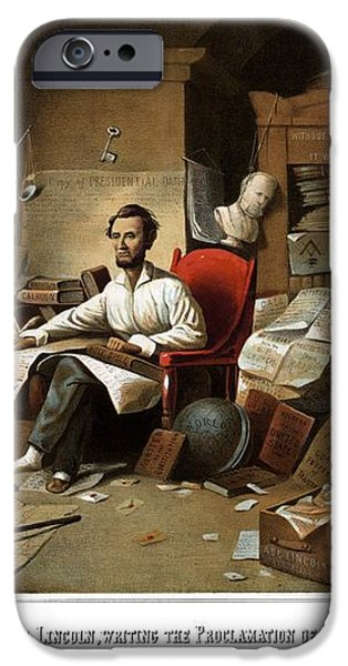 Lincoln Writing The Emancipation Proclamation iPhone Case by War Is Hell Store