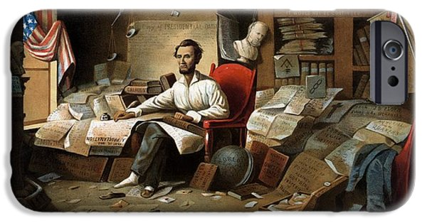 President iPhone Cases - Lincoln Writing The Emancipation Proclamation iPhone Case by War Is Hell Store