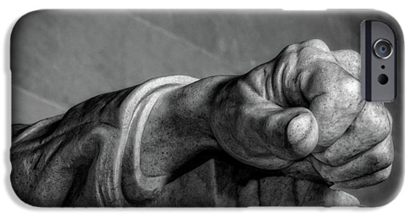 Lincoln iPhone Cases - Lincolns Left Hand B-W iPhone Case by Christopher Holmes