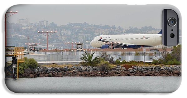 United Airlines Passenger Plane iPhone Cases - Lindberg Field- San Diego iPhone Case by See My  Photos