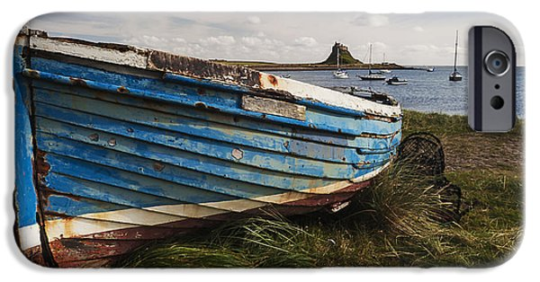 Sand Castles iPhone Cases - Lindisfarne boats - Landscape. iPhone Case by Paul Cullen