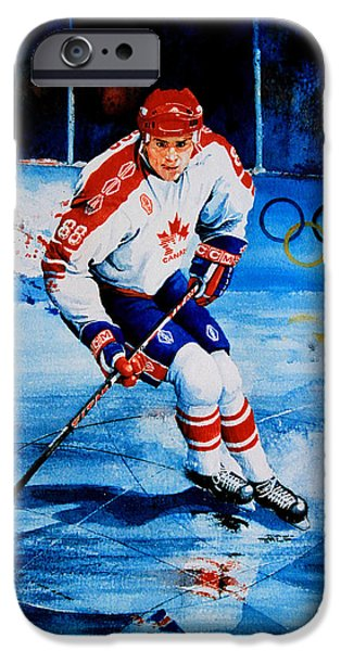 Hockey Paintings iPhone Cases - Lindros iPhone Case by Hanne Lore Koehler
