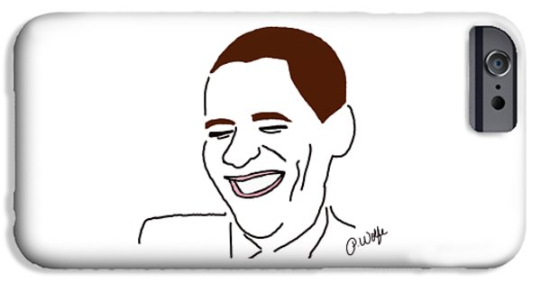 Obama iPhone Cases - Line Art Man iPhone Case by Priscilla Wolfe