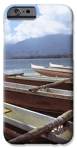 Line Of Outrigger Canoes iPhone Case by Joss - Printscapes