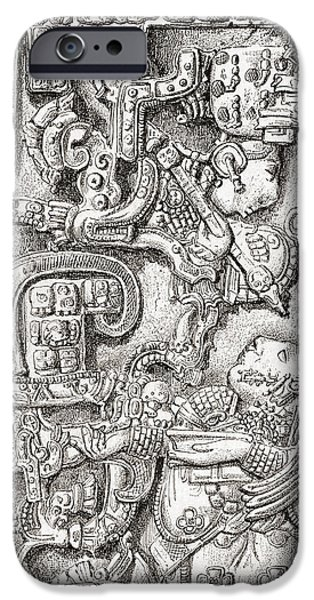 Serpent iPhone Cases - Lintel 25 Of Yaxchilan Structure 23 iPhone Case by Ken Welsh