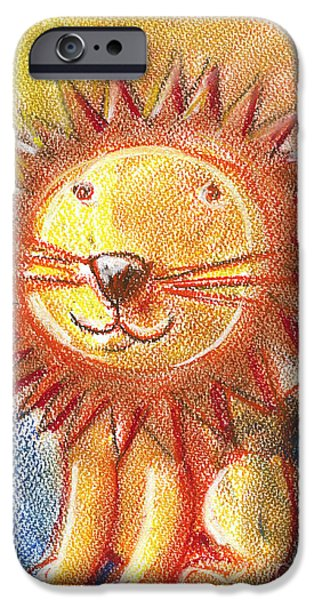 For Children Pastels iPhone Cases - Lion For Children Pastel Chalk Drawing iPhone Case by Frank Ramspott