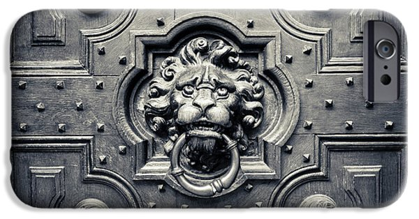 Royal Family Arts iPhone Cases - Lion Head Door Knocker iPhone Case by Adam Romanowicz