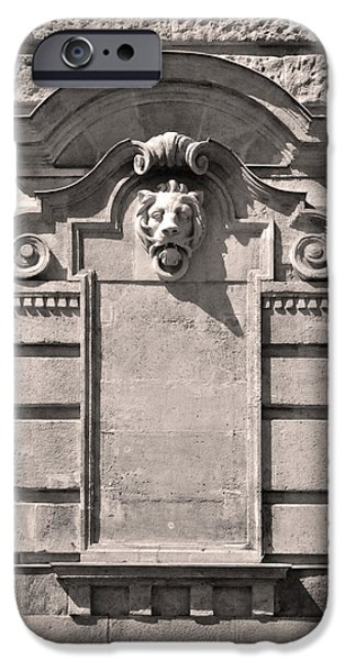 Building Reliefs iPhone Cases - Lion Medallion Budapest iPhone Case by James Dougherty